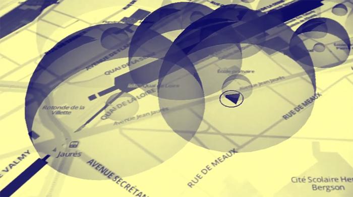En traversant les bulles sonores, l'auditeur active les compositions géolocalisées. © MU
