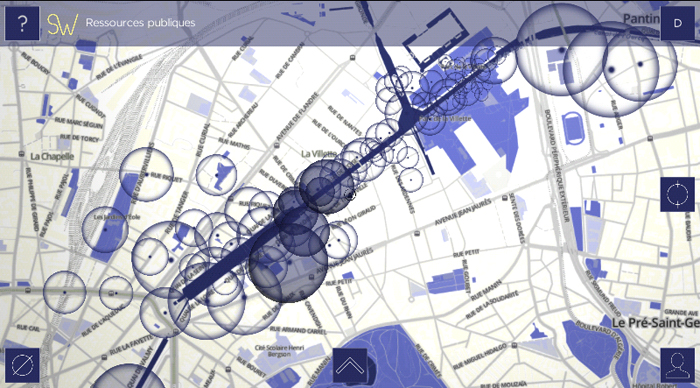 L'interface de SoundWays, avec ses bulles sonores réparties de chaque côté du canal de l'Ourcq, à Paris, Pantin, Bobigny. © MU